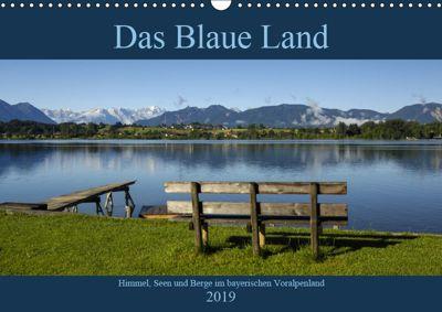 Das Blaue Land - Himmel, Seen und Berge im bayerischen Voralpenland (Wandkalender 2019 DIN A3 quer), Christof Wermter
