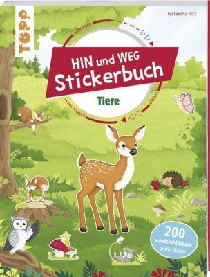 Das Hin-und-weg-Stickerbuch. Tiere, Natascha Pitz
