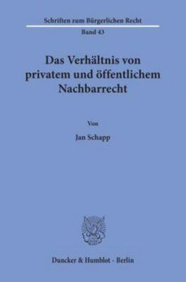 Das Verhältnis von privatem und öffentlichem Nachbarrecht., Jan Schapp