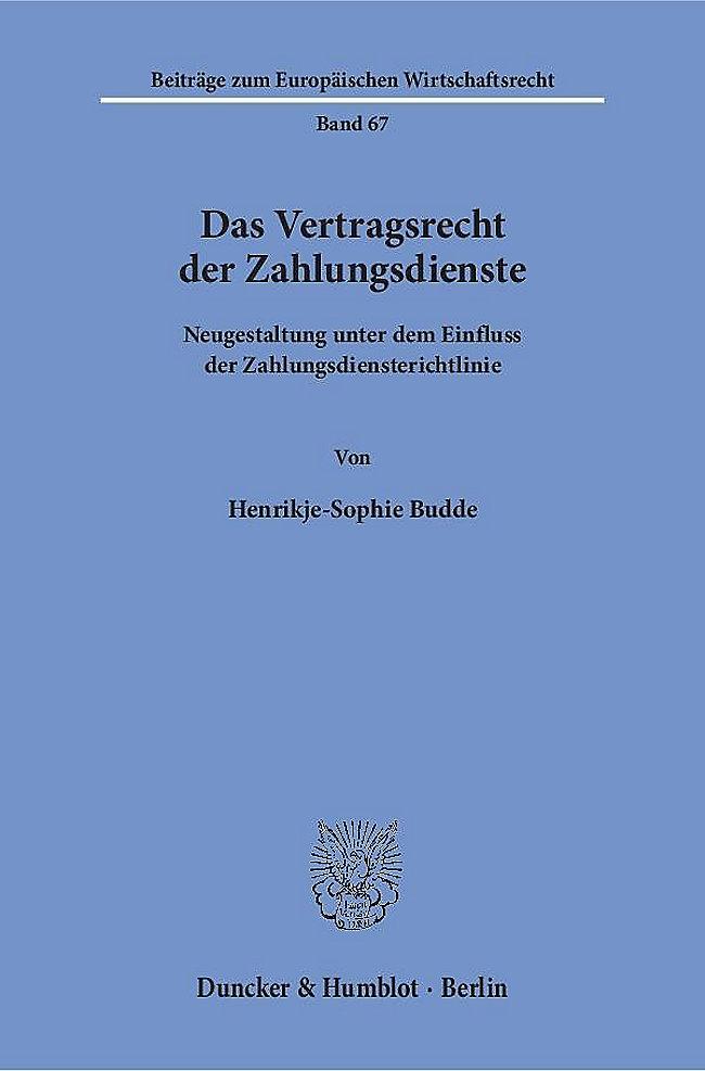 Das Vertragsrecht Der Zahlungsdienste Buch Portofrei Weltbildde