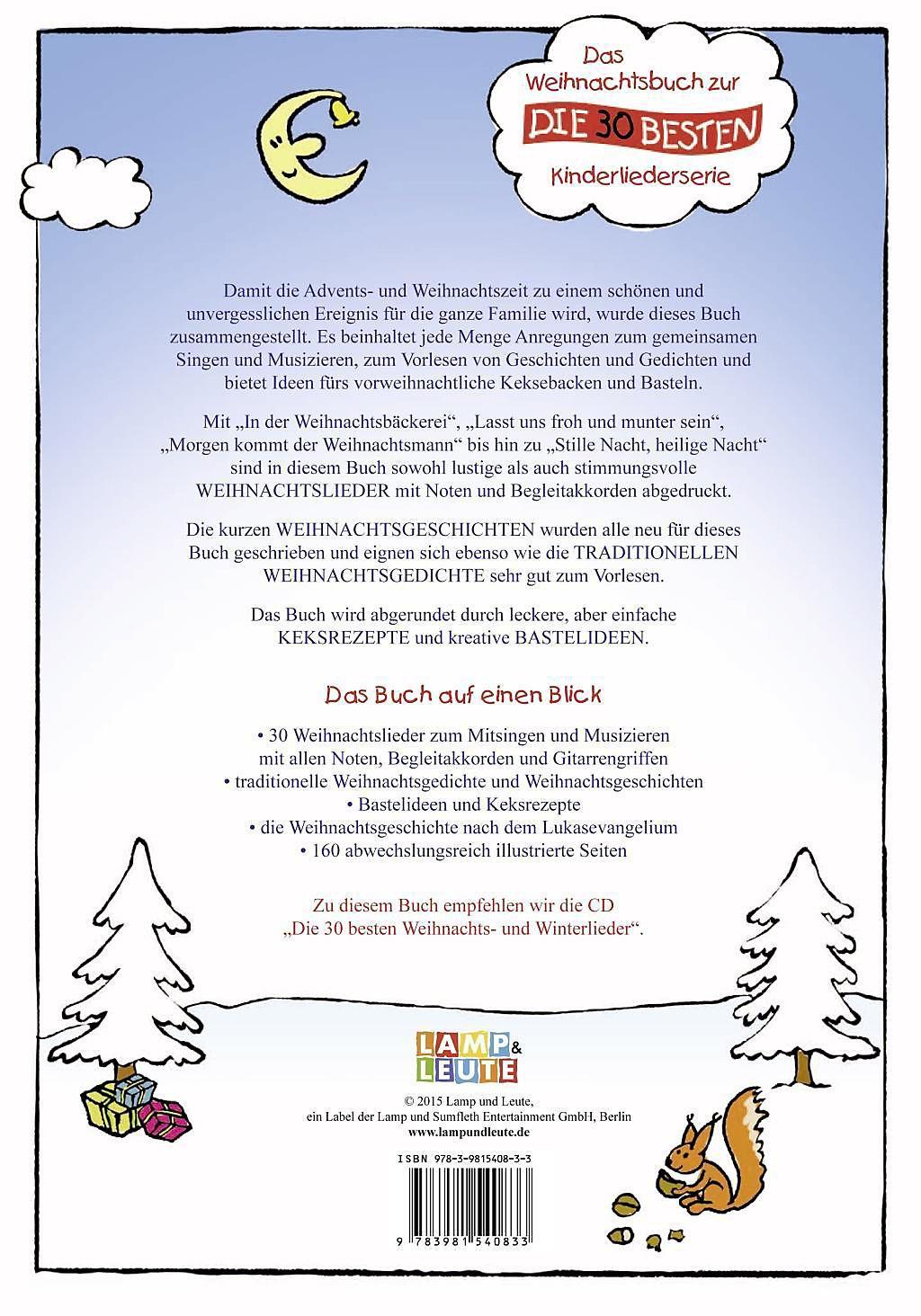 Das Weihnachtslieder-, Bastel- und Geschichtenbuch Buch portofrei