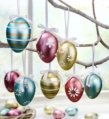 Deko-Eier zum Hängen, metallic, 18er-Set