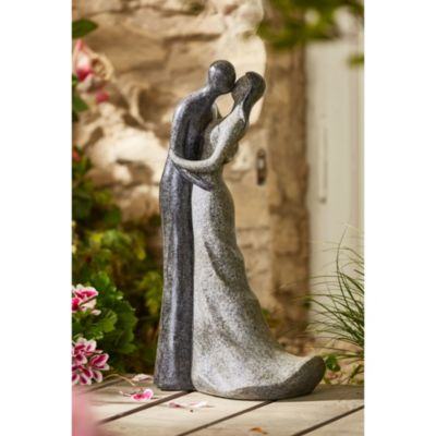 Dekofigur Statue Skulptur Gartenfigur ANGEL Polyresin Brunnen mit LED Figur Oste