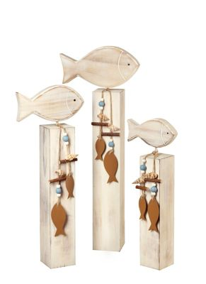 Deko-Fisch auf Sockel, 3er-Set