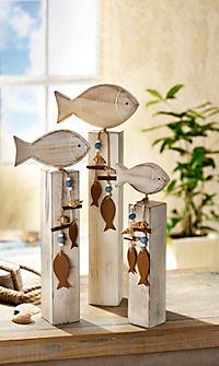 Deko-Fisch auf Sockel, 3er-Set - Produktdetailbild 1