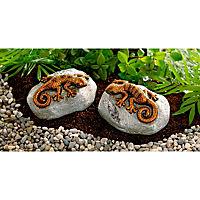 Deko-Geckos auf Stein, 2er-Set - Produktdetailbild 1