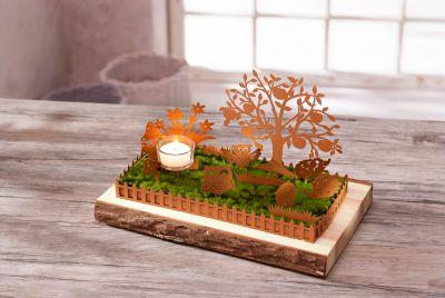 Deko-Herbstgarten mit Teelichthalter
