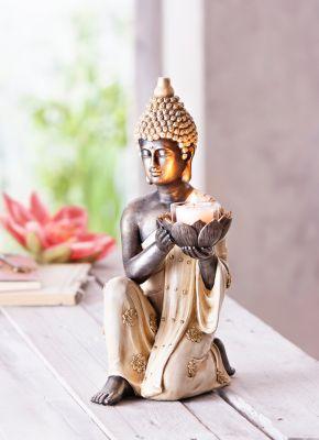 Dekofigur Buddha mit Teelichthalter
