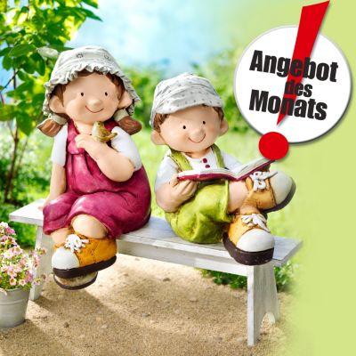 Dekofiguren Greta + Anton auf Bank, 3-tlg.