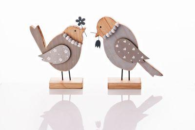Dekofiguren Holzvogel, 2er-Set