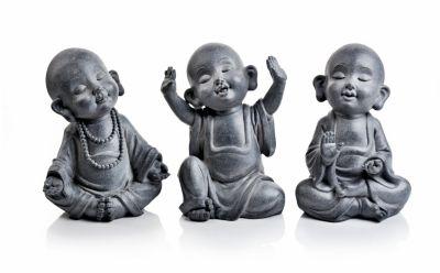 Dekofiguren Kleine Mönche, 3er-Set
