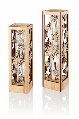 Dekosäulen Eiskristall, 2er-Set