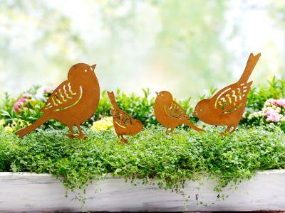 Dekostecker Vogelfamilie, 4er-Set