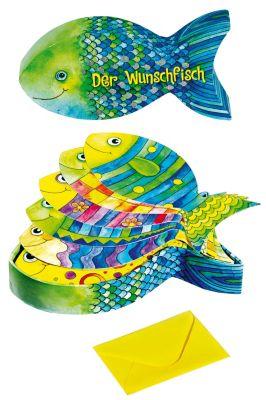 Der Wunschfisch, Box mit Wunschkarten und Umschlag (fischförmig), Silvia Braunmüller