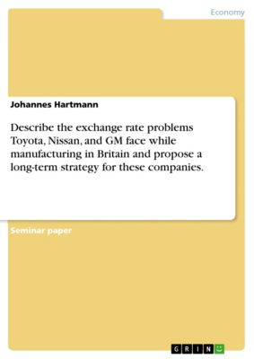 Describe the exchange rate problems Toyota, Nissan, and GM face while manufacturing in Britain and propose a long-term strategy for these companies., Johannes Hartmann