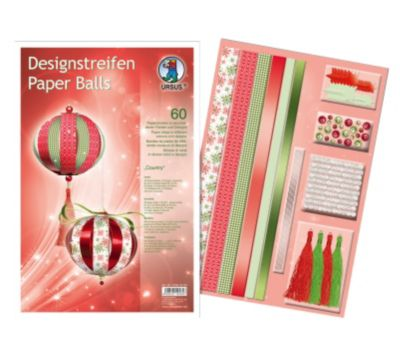 Designstreifen Paper Balls, 60 Papierstreifen (Ausführung: Country)