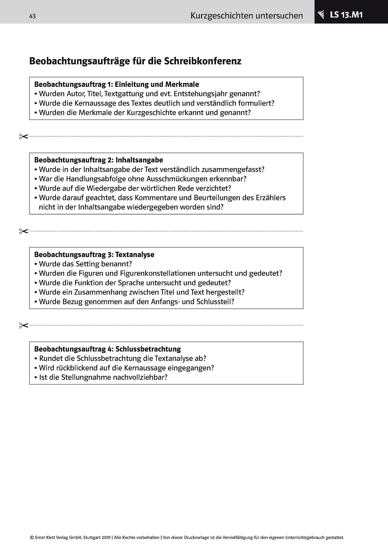 Deutsch 9 10 Kurzgeschichten Untersuchen Kreativ Schreiben Buch