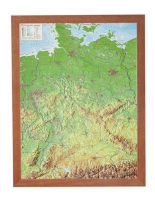 Deutschland, Reliefkarte, mit Holzrahmen