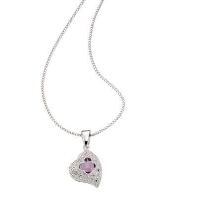 Diamonds by Ellen K. Anhänger mit Kette 925/- Sterling Silber Diamant Amethyst (Ausführung: 42cm)