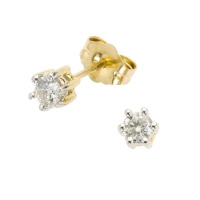 Diamonds by Ellen K. Ohrstecker 585/- Gold Brillant weiß 0,4cm Bicolor 0,25ct.
