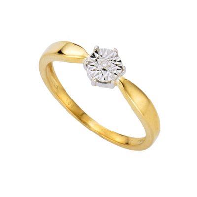 Diamonds by Ellen K. Ring 333/- Gold zweifarbig Brillant 0,01ct. (Größe: 016 (50,5))