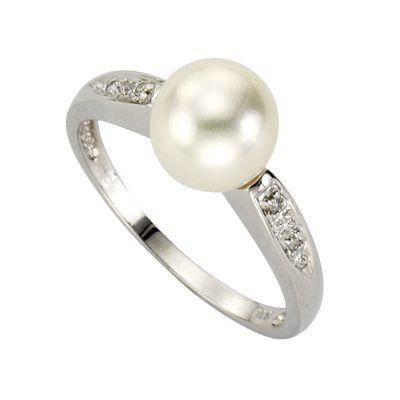 Diamonds by Ellen K. Ring 333/- Weißgold Perle und Diamant 0,02ct. (Größe: 018 (57,0))