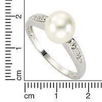 Diamonds by Ellen K. Ring 333/- Weißgold Perle und Diamant 0,02ct. (Größe: 017 (53,5)) - Produktdetailbild 1