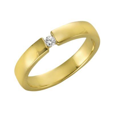 Diamonds by Ellen K. Ring 375/- Gelbgold Brillant 0,05ct. (Größe: 018 (57,0))