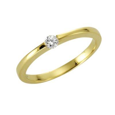 Diamonds by Ellen K. Ring 375/- Gold Brillant weiß Glänzend 0,10ct. (Größe: 016 (50,5))