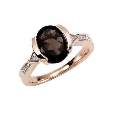 Diamonds by Ellen K. Ring 375/- Gold Rauchquarz mit Diamant 0,04ct. (Größe: 017 (53,5))