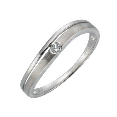 Diamonds by Ellen K. Ring 375/- Weißgold Brillant 0,06ct. (Größe: 054 (17,2))