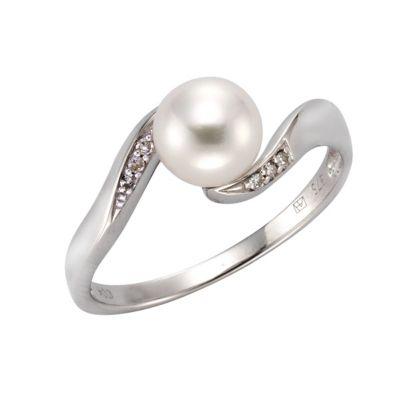 Diamonds by Ellen K. Ring 375/- Weißgold Perle und Diamant 0,04ct. (Größe: 054 (17,2))