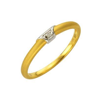 Diamonds by Ellen K. Ring 585/- Gold bicolor Brillant 0,01ct. (Größe: 017 (53,5))