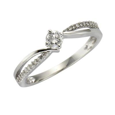 Diamonds by Ellen K. Ring 585/- Gold Brillant weiß Glänzend 0,25ct. (Größe: 018 (57,0))