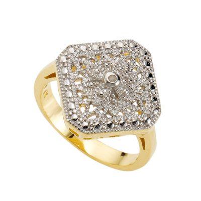Diamonds by Ellen K. Ring 925/- Sterling Silber Diamant weiß bicolor 0,0106ct. (Größe: 021 (66,1))