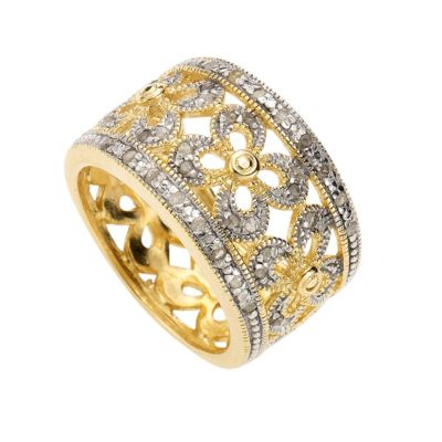 Diamonds by Ellen K. Ring 925/- Sterling Silber Diamant weiß bicolor 0,20ct. (Größe: 021 (66,1))