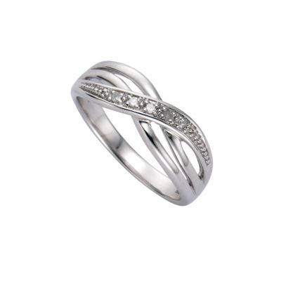 Diamonds by Ellen K. Ring 925/- Sterling Silber Diamant 0,01ct. (Größe: 058 (18,5))