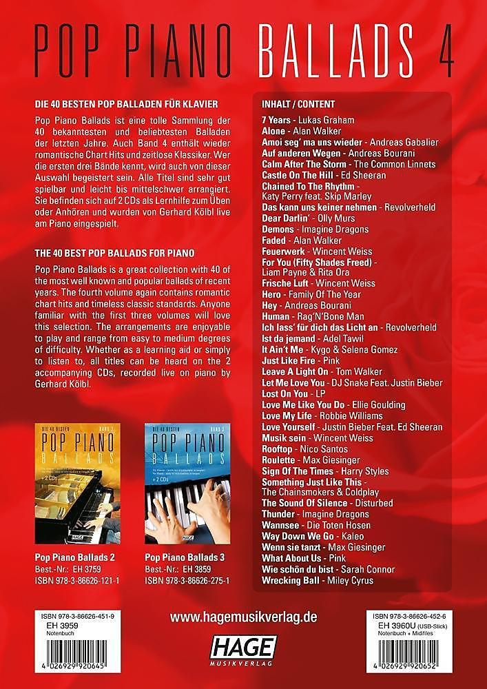 pop piano ballads 3 2 cds die 40 besten pop piano ballads leicht bis mittelschwer arrangiert