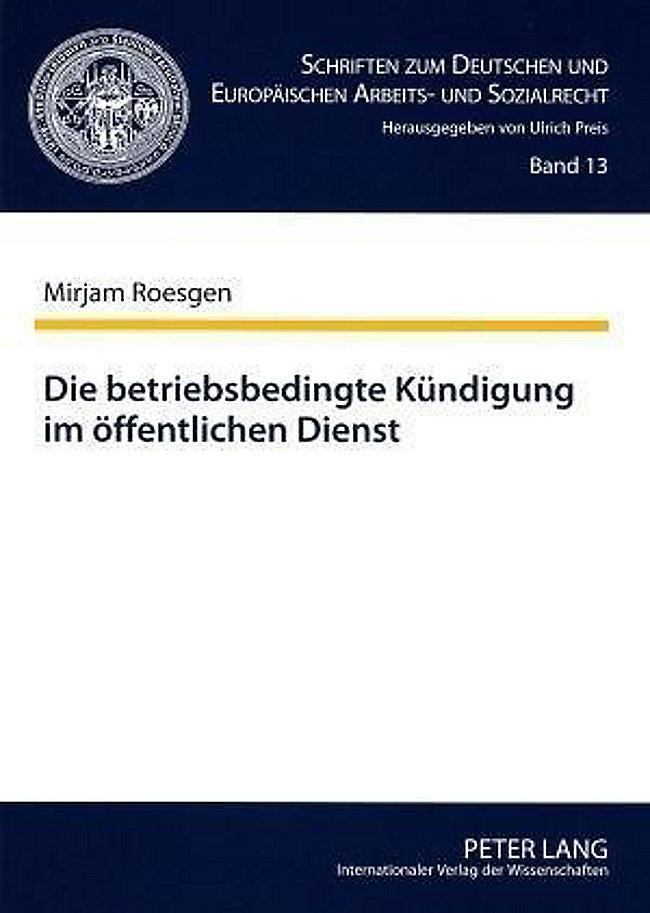 Die Betriebsbedingte Kündigung Im öffentlichen Dienst Buch