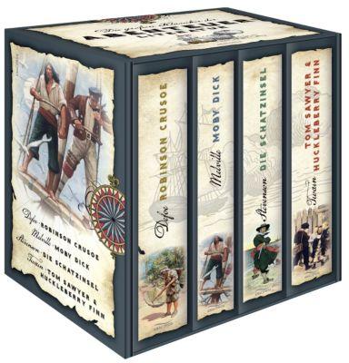 Die großen Klassiker der Abenteuerliteratur, 4 Bde., Daniel Defoe, Herman Melville, Robert Louis Stevenson, Mark Twain