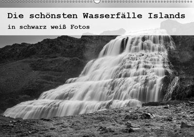 Die schönsten Wasserfälle Islands in schwarz weiss Fotos (Wandkalender 2019 DIN A2 quer), Herbert Redtenbacher
