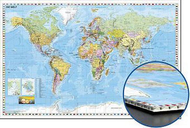 Die Welt Karte.Die Welt Weltkarte Deutsch Zum Pinnen Auf Wabenplatte