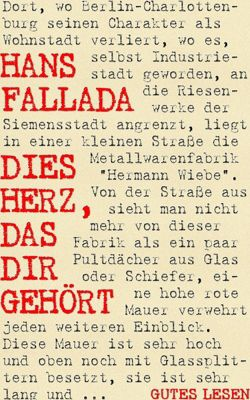 Dies Herz, das dir gehört, Hans Fallada