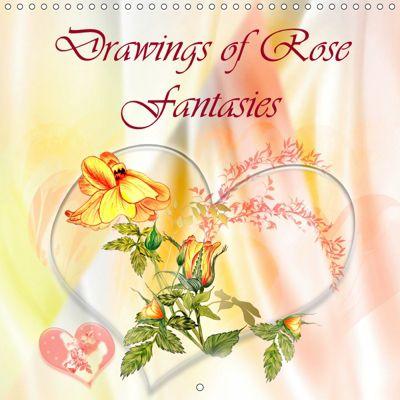 Drawings of Rose Fantasies (Wall Calendar 2019 300 × 300 mm Square), Dusanka Djeric