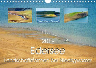 Edersee - Landschaftsformen bei Niedrigwasser (Wandkalender 2019 DIN A4 quer), Christine Bienert
