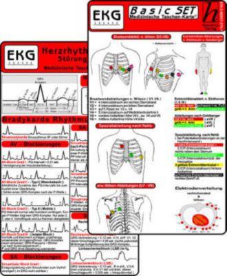 EKG Basic Set - Herzrhythmusstörungen, EKG Auswertung & Anleitung, 3 Medizinische Taschen-Karten