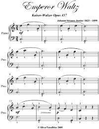Emperor Waltz Kaiser Walzer Opus 437 Easiest Piano Sheet Music, Johann Strauss Junior