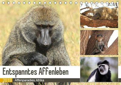 Entspanntes Affenleben (Tischkalender 2019 DIN A5 quer), Michael Herzog