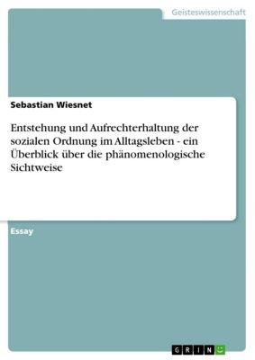 Entstehung und Aufrechterhaltung der sozialen Ordnung im Alltagsleben - ein Überblick über die phänomenologische Sichtweise, Sebastian Wiesnet