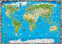 Erlebniskarte illustrierte Weltkarte, Planokarte, Doris Schönhoff, Dirk Krüger